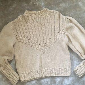 Sweaters - Vintage Irish Wool Sweater Puff Ivory Sweater